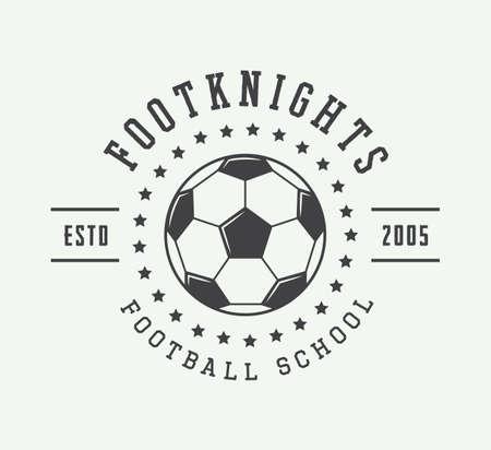 Vintage soccer or football logo, emblem, badge or label. Vector illustration