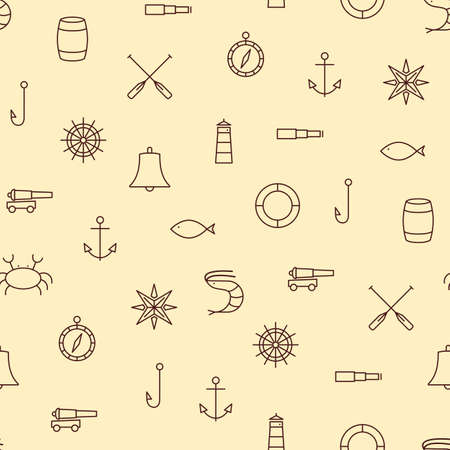 sea line: Ship Sea line icons seamless pattern on beige vector background Illustration