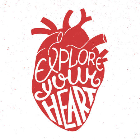 anatomic: Vector card with hand drawn unique typography design element for greeting cards, prints and posters. Explore your heart in anatomic heart on vintage background