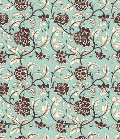 antique: Chinese background with flowers. Seamless ornamental antique pattern.