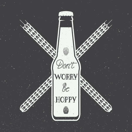 beer label: Vector vintage beer logo with hand lettering fun motivation quote