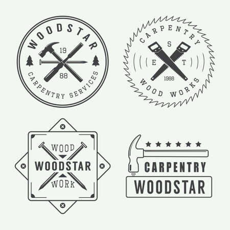 Vintage carpentry or mechanic logo Stock Vector - 48069422