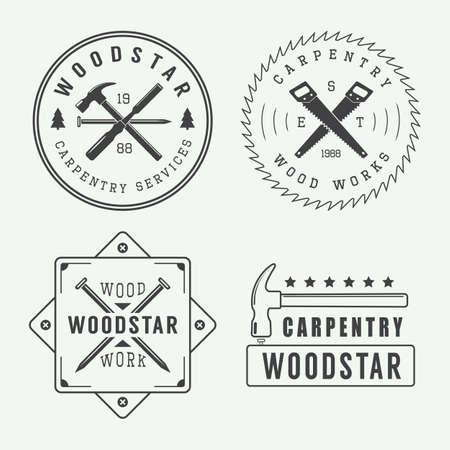 Vintage timmerwerk of monteur logo Stock Illustratie