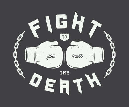 artes marciales: El boxeo de la vendimia, las artes o el deporte marciales mixtas logotipo, emblema, insignia, etiqueta y marca de agua con gloves.Vector ilustración