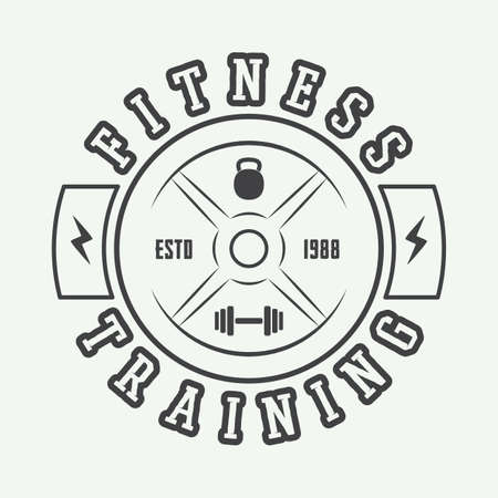 health and fitness: Gym logo in vintage style. Illustration