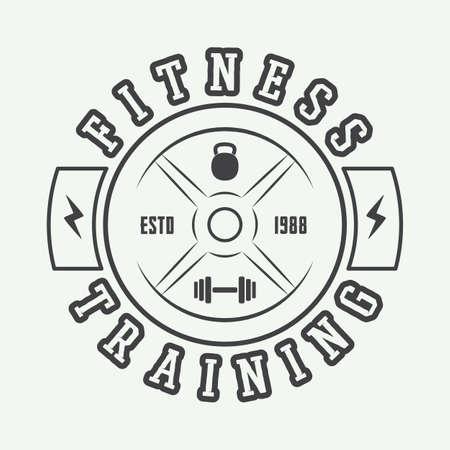 fitness training: Gym logo in vintage style. Illustration
