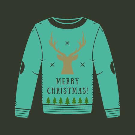 sueter: suéter de la Navidad de la vendimia con los ciervos Vectores