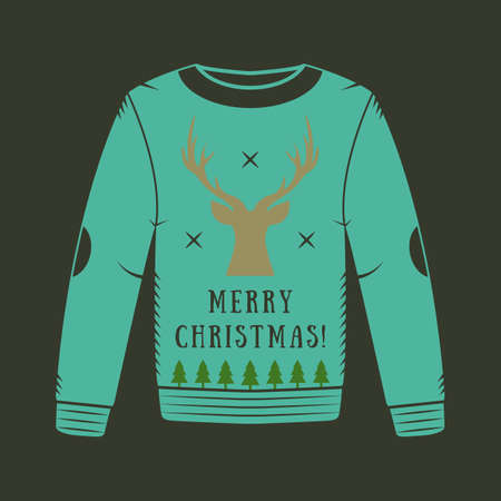 vector vintage christmas sweater with deer - Vintage Christmas Sweater