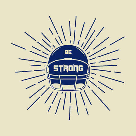 slogan: Vintage american football or rugby helm with motivation slogan. Vector illustration