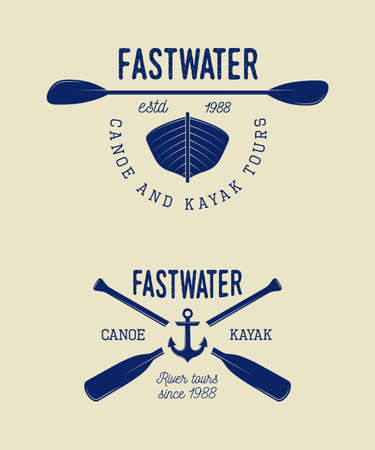 Set of vintage rafting logo, labels and badges.  Ilustrace