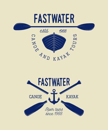 Set of vintage rafting logo, labels and badges.  Çizim