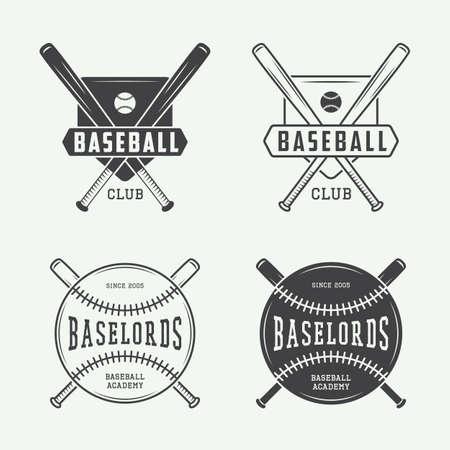 bate: Béisbol de la vendimia o los deportes logotipo, emblema, insignia, etiqueta y marca de agua en estilo retro. Vectores