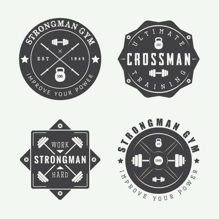 ジムのロゴ、ラベル、ビンテージ スタイルのスローガンのセットです。