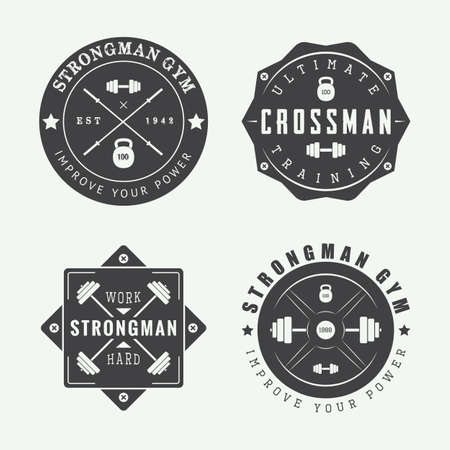 barbell: Set of gym logos, labels and slogans in vintage style.