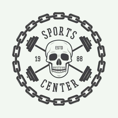 crossfit: Vintage gym logo, emblem, badge, label or watermark with skull and equipment in retro style.