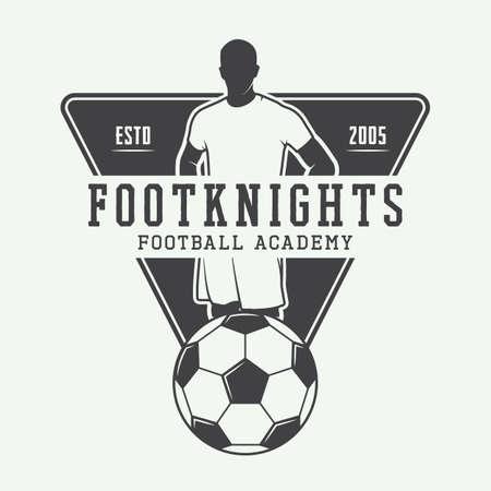 Vintage voetbal of voetbal embleem, badge. Stock Illustratie
