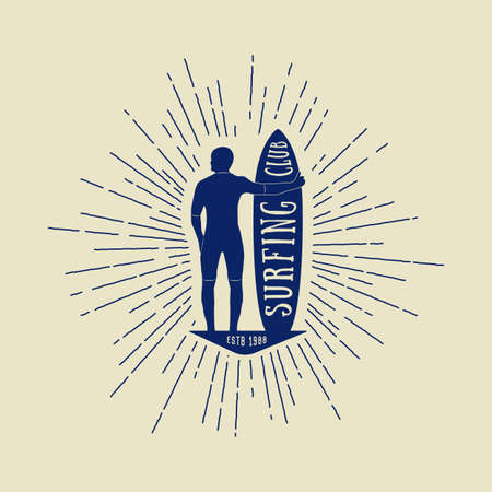 water sports: Vintage surfing logo, emblem, badge, label and watermark with man, board and sunbursts in retro style.  Illustration