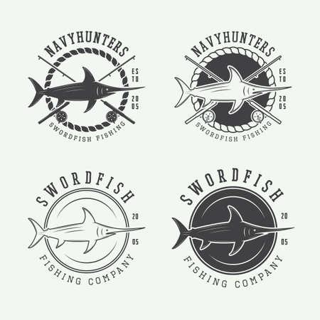sea saw: Set of vintage fishing labels
