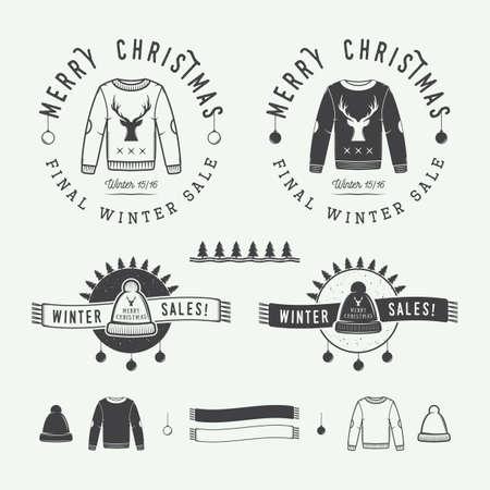 sueter: Vintage Feliz Navidad o rebajas de invierno Vectores