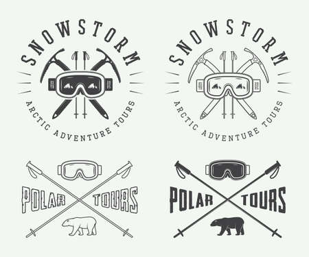 arctic: Vintage mountaineering and arctic expeditions logos, badges, emblems and design elements. Vector illustration Illustration