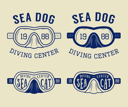 live coral: Set of diving logos, labels and slogans in vintage style.