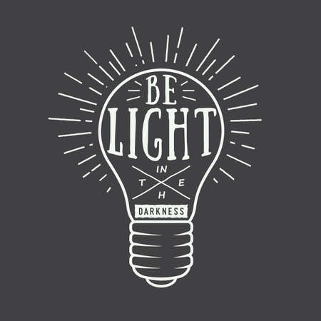 Vintage typography with lamp and motivation and inspiration in white. Can be used for logo, emblem, badge, label and watermark in retro style. Vector illustration