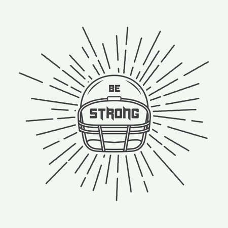 brave: Vintage american football or rugby helm with motivation slogan. Vector illustration