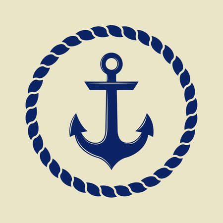 Anchor in vintage style. Vector illustration Vettoriali