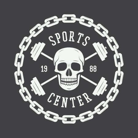 skull logo: Gym logo in vintage style. Vector illustration.