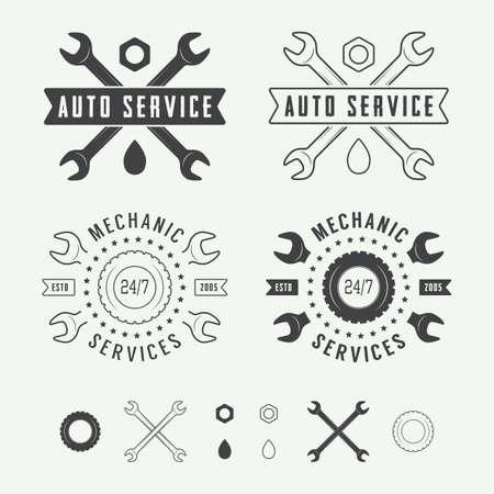 mecanico: Vintage mecánico sello, emblema y logotipo. Ilustración vectorial