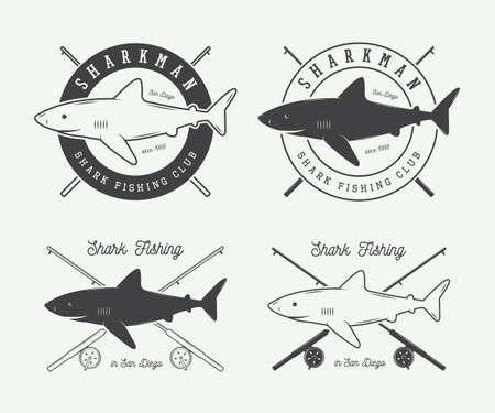 sea bass: Set of vintage fishing labels, logo, badge and design elements. Vector illustration