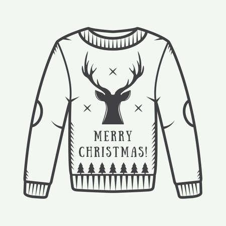 sueter: suéter de la Navidad de la vendimia con ciervos, árboles y estrellas. ilustración vectorial Vectores