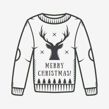 the ugly: Vintage Christmas sweater with deer, trees and stars. Vector illustration Illustration