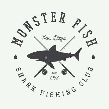 river boat: Vintage fishing label, log, badge with shark. Vector illustration Illustration