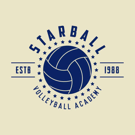 Vintage volleyball logo, emblem, badge, label and watermark with ball in retro style. Vector illustration Logo