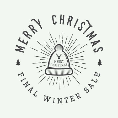 winter sales: Vintage Merry Christmas or winter sales logo, emblem, badge, label and watermark in retro style with hat, deer, trees, stars, decor and design elements. Vector illustration