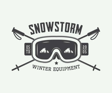 Vintage winter sports logo, badge, emblem and design elements. Vector illustration