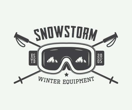 Vintage wintersporten logo, kenteken en design elementen. vector illustratie