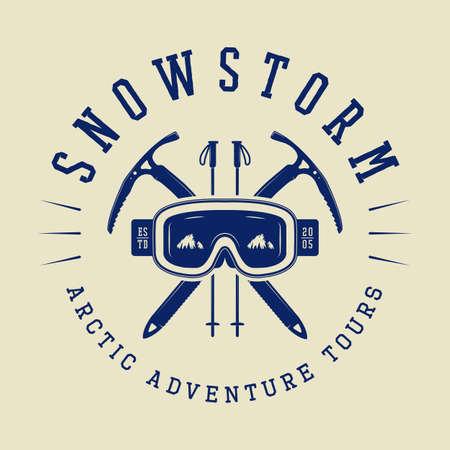 mountaineering: Vintage arctic mountaineering logo, badge, emblem. Vector illustration