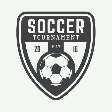 ビンテージ サッカーまたはフットボールのロゴ、エンブレム、バッジ。ベクトル図 写真素材 - 48642155