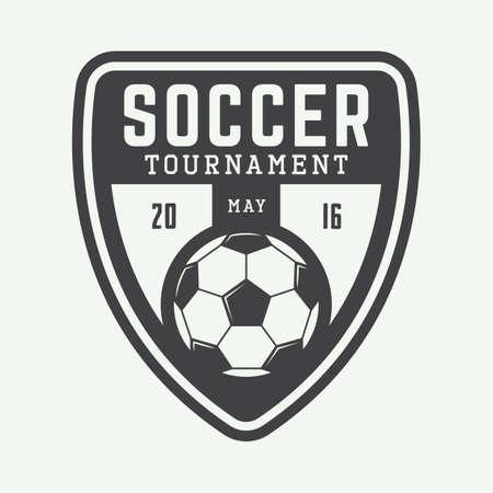 Vintage soccer or football logo, emblem, badge. Vector illustration Vectores
