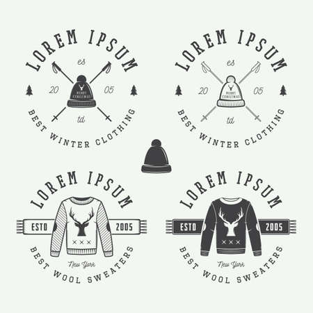 the ugly: Vintage Merry Christmas or winter clothing shop logo, emblem, badge, label and watermark in retro style with sweaters, hats, scarfs, trees, stars, decor, deers and design elements. Vector illustration