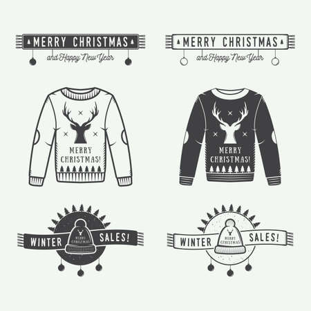 winter sales: Vintage Merry Christmas or winter sales logo, emblem, badge, label and watermark in retro style with sweaters, hats, scarfs, trees, stars, decor, deers and design elements. Vector illustration