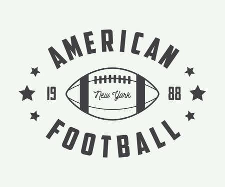 jugador de futbol: Rugbi vintage y etiquetas de fútbol americano, emblemas y logotipo. Ilustración vectorial Vectores