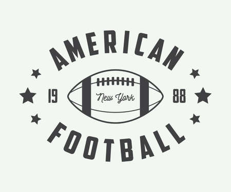 football play: Vintage rugby and american football labels, emblems and logo. Vector illustration Illustration