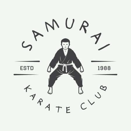 knockdown: Vintage karate or martial arts logo, emblem, badge, label and design elements. Vector illustration