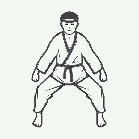 artes marciales mixtas: Vintage karate boy in retro style. Can be used for logos, emblems, badges, labels and design elements. Vector illustration