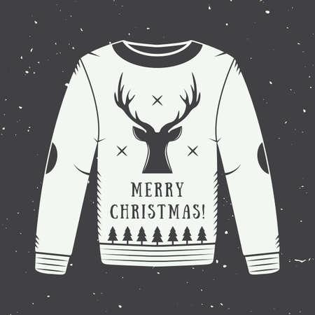 sueter: Vintage Feliz Navidad o rebajas de invierno logotipo, emblema, insignia, etiqueta y marca de agua en estilo retro con elementos de suéter, ciervos, árboles, estrellas, decoración y diseño. Ilustración vectorial