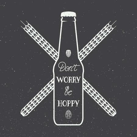 Vector uitstekende bier embleem met de hand belettering leuke motivatie citaat