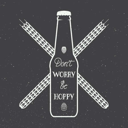 beer texture: Vector vintage beer logo with hand lettering fun motivation quote